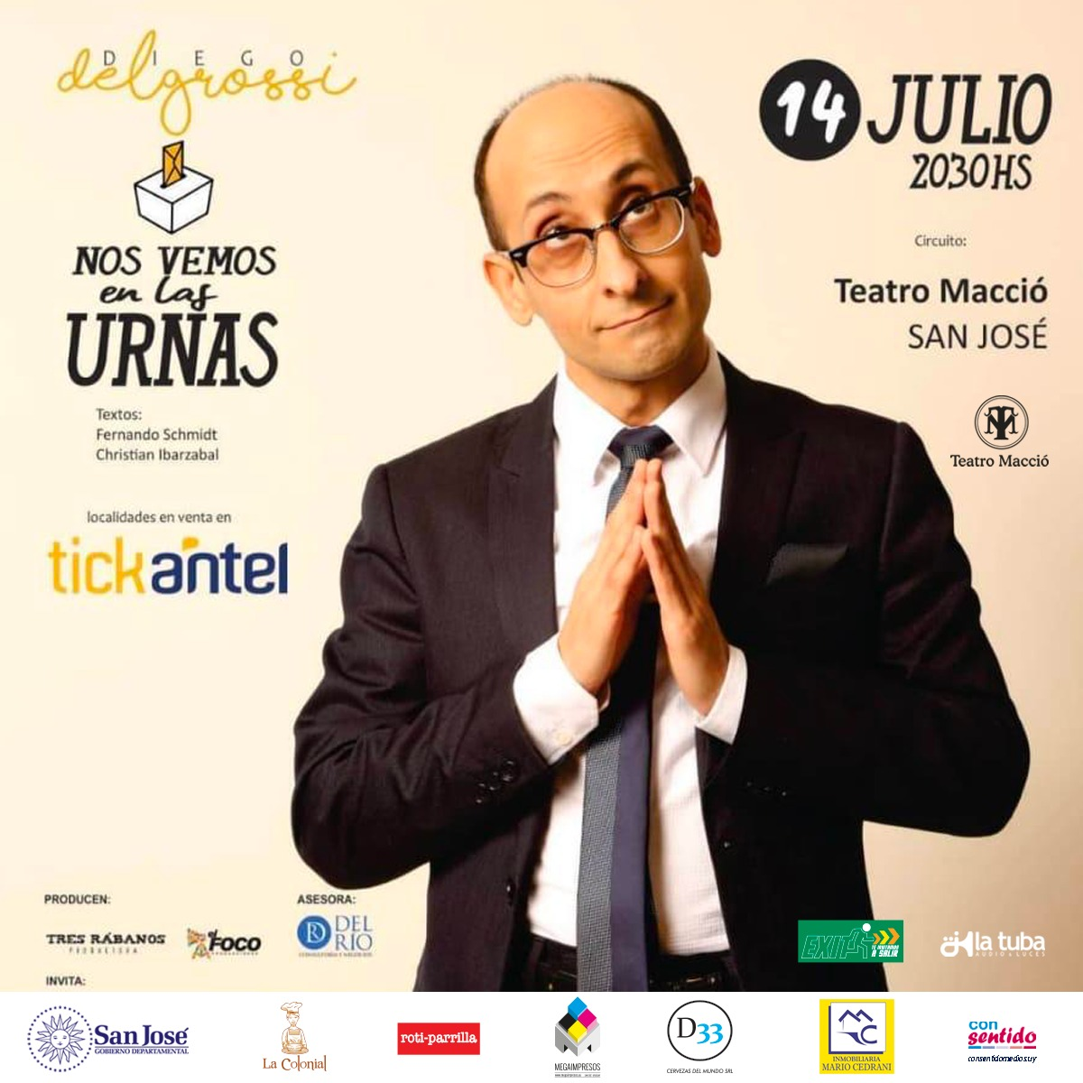 Mañana domingo 14 Nos vemos en las urnas con Diego Delgrossi en el Macció