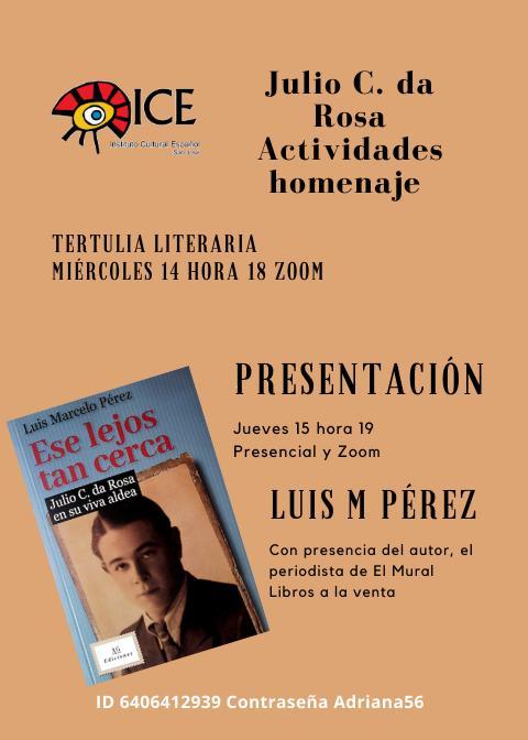 Afiche - Actividades homenaje a Julio C. da Rosa en el ICE