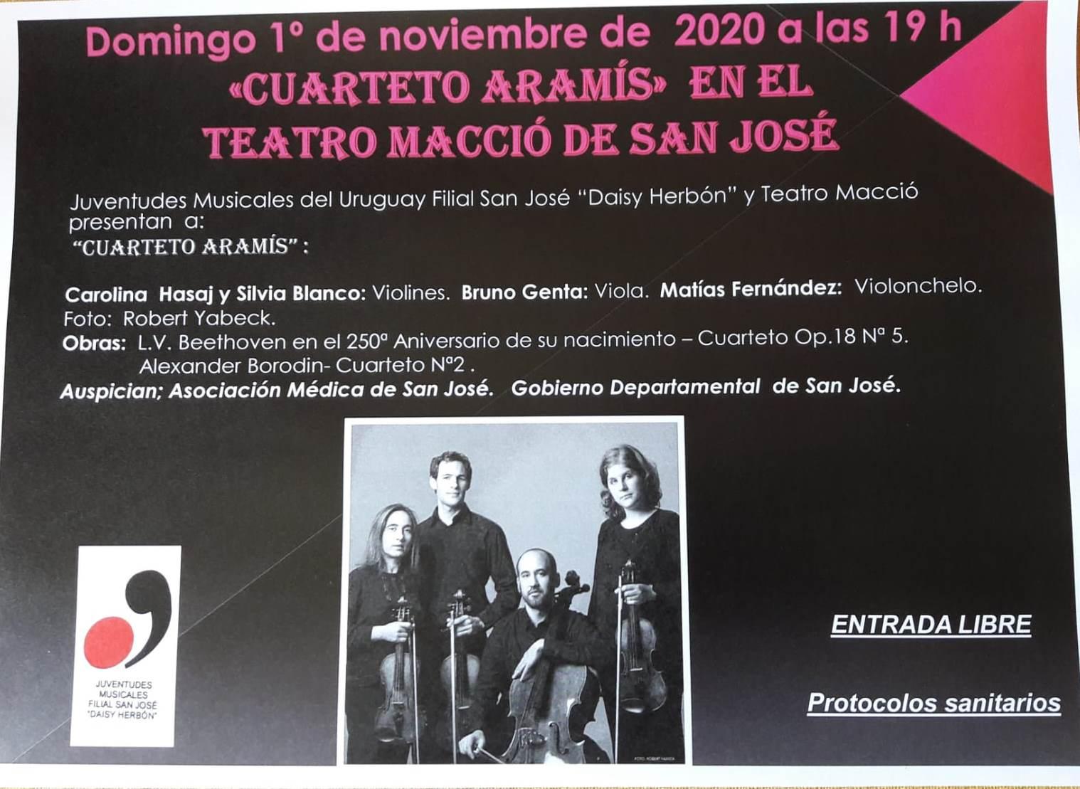 Afiche del concierto del Cuarteto Aramís del 1º -11- 2020 en el Macció